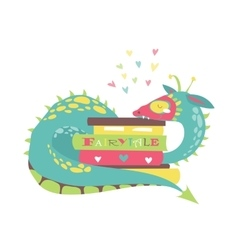 Cute dragon with stack of books vector