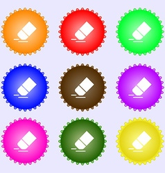 Eraser rubber icon sign Big set of colorful vector image
