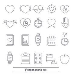 fitness icons set fitness icons set vector image vector image
