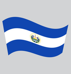 flag of el salvador waving on gray background vector image vector image