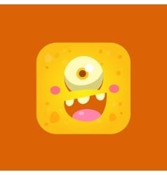 Happy yellow monster emoji icon vector