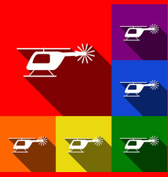 Helicopter sign set of icons vector