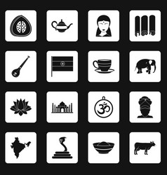 India travel icons set squares vector