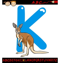 letter k for kangaroo cartoon vector image