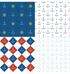 Marine seamless pattern set 3 vector