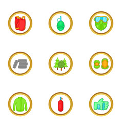 Paintball things icons set cartoon style vector