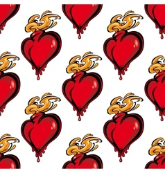 Seamless pattern of a flaming melting heart vector