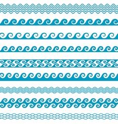Seamless wave line pattern borders set vector
