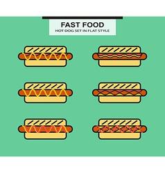 Set of different shape hotdog vector