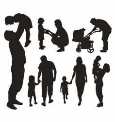 set of family silhouettes vector image vector image