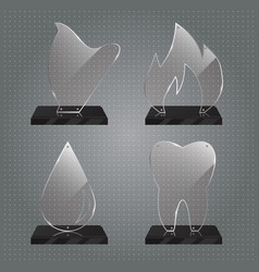 set of realistic glass trophy awards vector image vector image