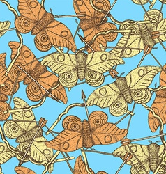 Sketch moth and bow in vintage style vector image vector image