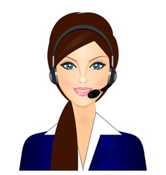 smiling telephone operator vector image