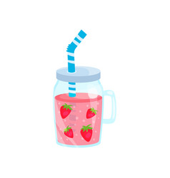 Strawberry cocktail in glass jar summer time vector