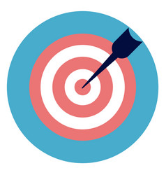 target with arrow icon on round blue background vector image vector image