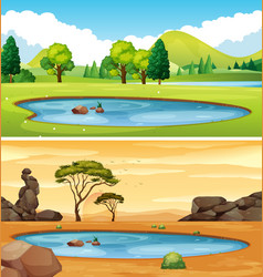 Two scenes with the pond vector