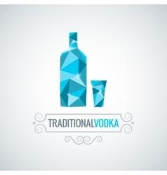 Vodka bottle poly design background vector