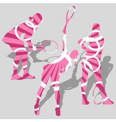 womens tennis sport silhouettes vector image vector image