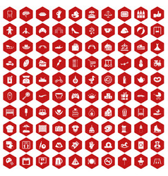 100 mother and child icons hexagon red vector