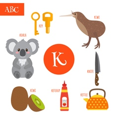 Letter k cartoon alphabet for children koala key vector