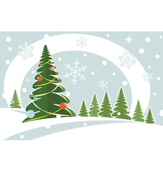 Snowy christmas firtree vector