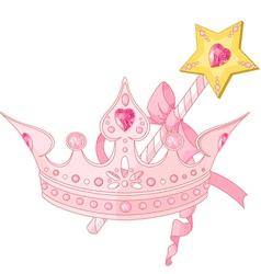 Princess crown and magic wand vector