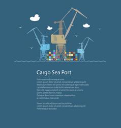 Cargo cranes at sea and text vector