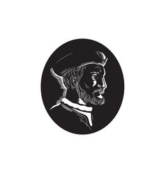 Jacques cartier french explorer oval woodcut vector