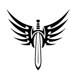 Winged sword tribal tattoo vector image