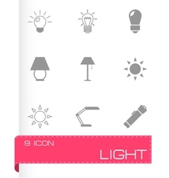 black light icons set vector image