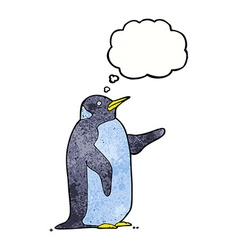 Cartoon penguin with thought bubble vector