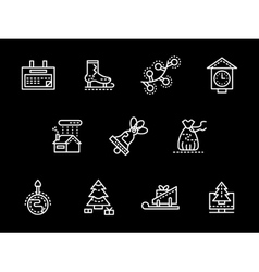 White simple line New Year icons vector image