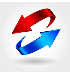 Red and blue arrows are moving towards arrows sign vector