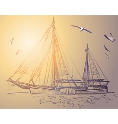 Sketch of a pirate ship vector