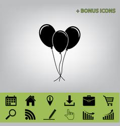 Balloons set sign black icon at gray vector