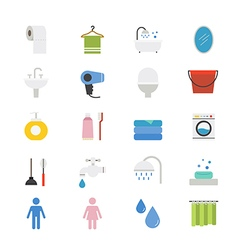 Bathroom and Toilet Flat Icons color vector image vector image