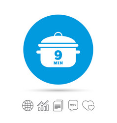 Boil 9 minutes cooking pan sign icon stew food vector