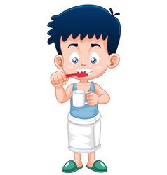 Boy brushing his teeth vector image vector image