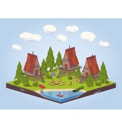 Cabins in the woods vector