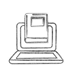 Contour laptop with book knowledge to study icon vector