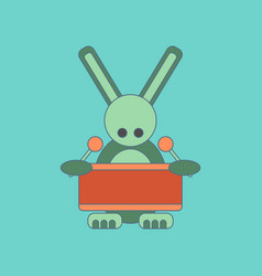 Flat icon on background kids toy rabbit drummer vector