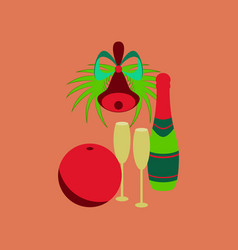 Flat on background of champagne bell vector