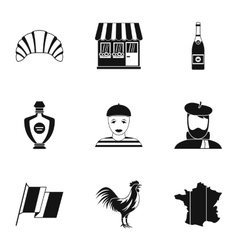 France Republic icons set simple style vector image vector image