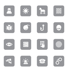 Gray flat icon set 7 on rounded rectangle vector