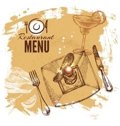 Hand drawn sketch restaurant food set european vector