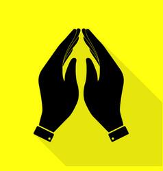 Hand icon prayer symbol black icon vector