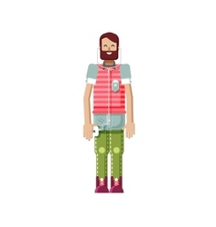 isolated of European hipster with vector image vector image