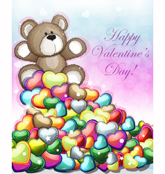 little teddy bear with hearts vector image vector image