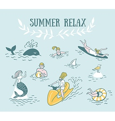 People actively relax swim in the sea summer sea vector