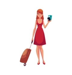 Pretty woman in red dress with suitcase ticket vector image
